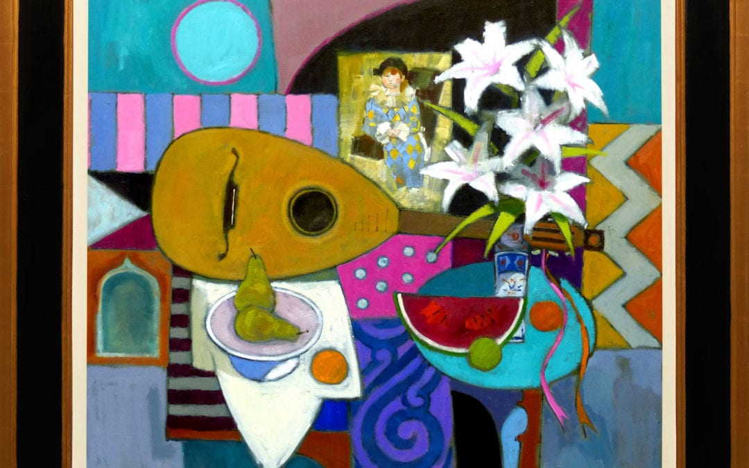 Lute, Lilies and Harlequin by Jack Morrocco FRSA